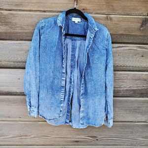 Cloth and Stone - Denim Chambray Open Back Blouse